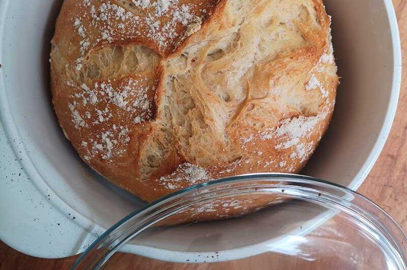 Receta de Pan sin amasado en recipiente